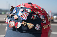 A fans cap with badges outside the Britannia Stadium, home of Stoke City<br /> <br /> Photographer Terry Donnelly/CameraSport<br /> <br /> The Premier League - Stoke City v Liverpool - Saturday 8th April 2017 - bet365 Stadium - Stoke-on-Trent<br /> <br /> World Copyright &copy; 2017 CameraSport. All rights reserved. 43 Linden Ave. Countesthorpe. Leicester. England. LE8 5PG - Tel: +44 (0) 116 277 4147 - admin@camerasport.com - www.camerasport.com