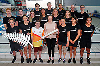 Lauren Boyle holding the Queens baton announce the team. New Zealand swimming team announcement for the 2018 Commonwealth Games. Sir Owen G. Glenn National Aquatic Centre, Auckland. 22 December 2017. Copyright Image: William Booth / www.photosport.nz