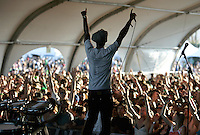 COACHELLA,CA - APRIL17,2009: Buraka Som Sistema  has the Gobi tent on their feet during performance Friday, April 17, 2009, at the Coachella Valley Music and Arts Festival. The event, which begins its 10th yeartoday, is one of the nation's preeminent music festivals.