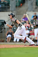 Arkansas Travelers second baseman Alex Yarbrough (7) at bat during a game against the San Antonio Missions on May 25, 2014 at Dickey-Stephens Park in Little Rock, Arkansas.  Arkansas defeated San Antonio 3-1.  (Mike Janes/Four Seam Images)