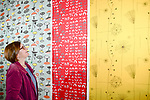 "Pictured: Gallery visitor Liz Leask admires colourful textiles on display as part of the Lucienne Day exhibition in Basingstoke.    <br /> <br /> A collection of work by one of Britain's most pioneering post-war textile designers is currently on display at The Willis Museum and Sainsbury Gallery in Basingstoke.<br /> <br /> The exhibition, titled Lucienne Day: Living Design, brings together more than 70 works drawn from the archives of The Robin and Lucienne Day Foundation and includes hanging textiles, furnishings, dress designs and ceramics.<br /> <br /> One of the stand-out designs from the exhibition is ""Calyx"", a large scale abstract pattern, which proved to be a breakthrough for Lucienne Day's career, gaining her recognition and success.  The Calyx design has sold in large quantities since its creation and has been widely emulated by other designers across the globe.    <br /> <br /> The exhibition runs until 11th January, 2020.<br /> <br /> © Maisie Marshall/Solent News & Photo Agency<br /> UK +44 (0) 2380 458800"