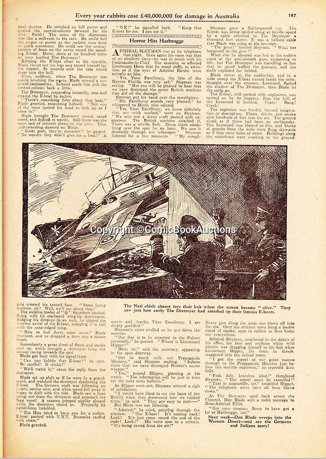 BNPS.co.uk (01202 558833)<br /> Pic: ComicBookAuctions/BNPS<br /> <br /> Amazingly even as early as 1941 the Hotspur was featuring a rocket powered RAF jet called 'The Destroyer' of 'Q' Squadron piloted by a Captain Dan Blade taking on the Hun.<br /> <br /> Hearts and minds - Collection of wartime comics reveals the British response to the Nazi propaganda machine during WW2.<br /> <br /> The Nazi's may have had the Hitler youth but an amazing collection of wartime comics reveals how Britain fought for the hearts and minds of its children through the unlikely pages of the Beano and Hotspur.<br /> <br /> Although comic books were in their infancy at the outbreak of the war, the industry quickly got behind the war effort.<br /> <br /> A collection of popular boys' publications due to appear at auction have revealed the extent of the propaganda effectuated by British media.  <br /> <br /> Their bold front covers and story lines made every effort to ridicule Hitler and his henchmen and promote the plucky British underdog and the fast changing technology of War.<br /> <br /> The online sale of the wartime comics by London auctioneer Comic Book Auctions will end on September 4.