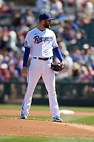 Texas Rangers starting pitcher Jordan Lyles (24) during a Cactus League Spring Training game against the Los Angeles Dodgers on March 8, 2020 at Surprise Stadium in Surprise, Arizona. Rangers defeated the Dodgers 9-8. (Tracy Proffitt/Four Seam Images)