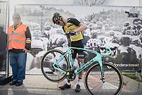 Lars Boom (NED/LottoNL-Jumbo) checking his bike post-race<br /> <br /> 72nd Dwars Door Vlaanderen (1.UWT)<br /> 1day race: Roeselare &rsaquo; Waregem BEL (203.4km)