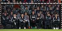 Man Utd Manager Jose Mourinho and his staff during the Premier League match between Bournemouth and Manchester United at the Goldsands Stadium, Bournemouth, England on 18 April 2018. Photo by Andy Rowland.