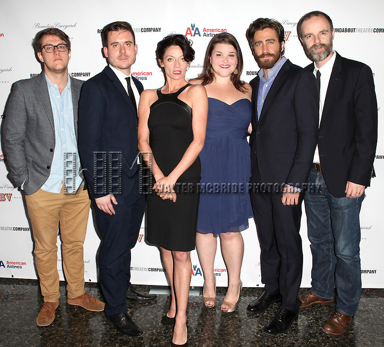 Nick Payne, Michael Longhurst, Michelle Gomez, Annie Funke, Jake Gyllenhaal and Brian F. O'Byrne attending the After Party for Opening Night Performance of the Roundabout Theatre Production of  'If There Is I Haven't Found It Yet' at the Laura Pels Theatre in New York City on 9/20/2012.