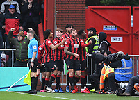 29th February 2020; Vitality Stadium, Bournemouth, Dorset, England; English Premier League Football, Bournemouth Athletic versus Chelsea; Jefferson Lerma of Bournemouth celebrates with his team on scoring in 54th minute for 1-1