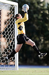 Florida State's Ali Mims makes one of her 18 saves on Friday, November 25th, 2005 at Fetzer Field in Chapel Hill, North Carolina. The Florida State Seminoles defeated the University of North Carolina Tarheels 5-4 on penalty kicks after the teams tied 1-1 after overtime during their NCAA Women's Soccer Tournament quarterfinal game.
