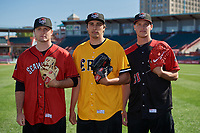 Erie SeaWolves Casey Mize, Alex Faedo, and Matt Manning pose for a photo before an Eastern League game against the Altoona Curve on June 3, 2019 at UPMC Park in Erie, Pennsylvania.  Altoona defeated Erie 9-8.  (Mike Janes/Four Seam Images)