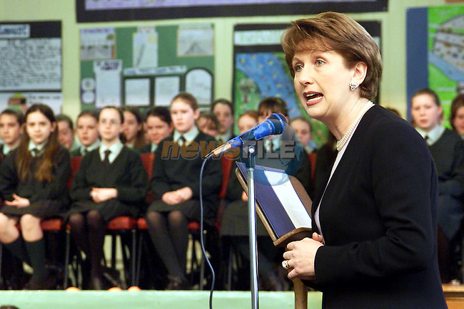 President Mary McAleese speaking during her visit to Fatima Girls School..Picture: Paul Mohan/Newsfile