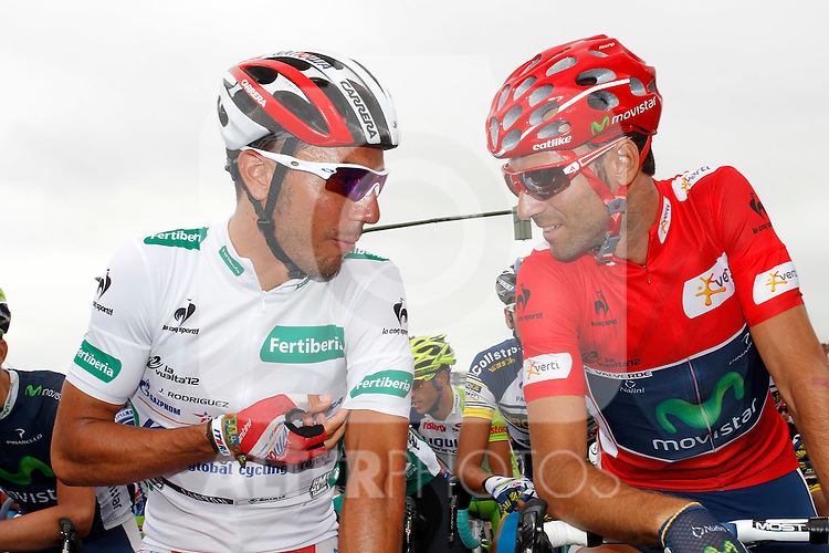 Alejandro Valverde (r) and Joaquin Purito Rodriguez during the stage of La Vuelta 2012 between Barakaldo and Valdezcaray.August 21,2012. (ALTERPHOTOS/Paola Otero)