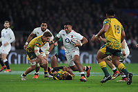 Manu Tuilagi of England runs through Israel Folau of Australia  during the Quilter International match between England and Australia at Twickenham Stadium on Saturday 24th November 2018 (Photo by Rob Munro/Stewart Communications)