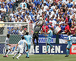 9 June 2007: Guatemala goalkeeper Ricardo Trigueno (1) leaps high to claim a cross in the penalty area, as a group of El Salvador fans watch. The National Team of Guatemala defeated the National Team of El Salvador 1-0 at the Home Depot Center in Carson, California in a first round game in the CONCACAF Gold Cup.