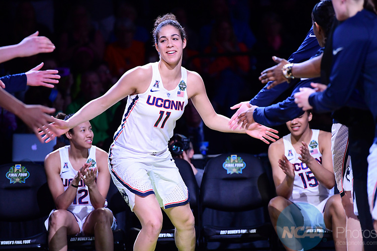 DALLAS, TX - MARCH 31:  Kia Nurse #11 of the Connecticut Huskies gets introduced during the 2017 Women's Final Four at American Airlines Center on March 31, 2017 in Dallas, Texas. (Photo by Justin Tafoya/NCAA Photos via Getty Images)