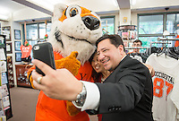 Alumni and Oswald visit the Bookstore during Occidental College's annual Alumni Reunion, Saturday, June 13, 2015.<br /> (Photo by Marc Campos, Occidental College Photographer)