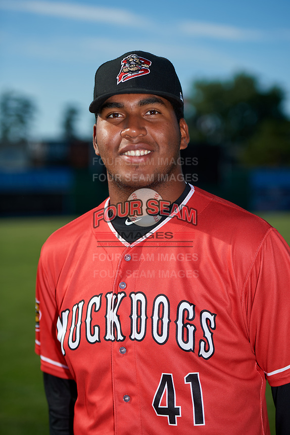 Batavia Muckdogs pitcher Alberto Guerrero (41) poses for a photo before a game against the State College Spikes on July 9, 2018 at Dwyer Stadium in Batavia, New York.  State College defeated Batavia 3-0.  (Mike Janes/Four Seam Images)