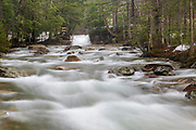"The Baby Flume on the Pemigewasset River in Franconia Notch State Park of Lincoln, New Hampshire during the spring months. This natural feature is located a short ways down river from the ""The Basin"" viewing area."