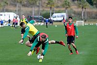SOTOGRANDE  - Voetbal, Trainingskamp FC Groningen, seizoen 2017-2018, 09-01-2018,  FC Groningen speler Oussama Idrissi en FC Groningen speler Mike te Wierik