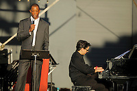 "Accompanied by live narration by San Antonio Spurs legend Sean Elliott, jazz pianist Aaron Prado performs the San Antonio Jazz Suite, a composition by Prado commissioned by Trinity University jazz radio station KRTU, during the KRTU ""Year of Jazz"" Festival, Sunday, Oct. 23, 2011, at Sunken Garden Theater in San Antonio, Texas, USA. (Darren Abate/pressphotointl.com)"