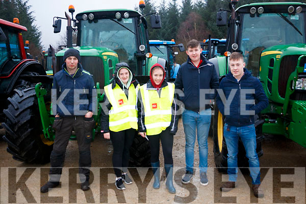 Left to Right Gerad Donovan, Rachel Healy, Helena Rice, Pattie Murphy and Kevin Rae at the Kenmare macra na Feirme charity tractor run