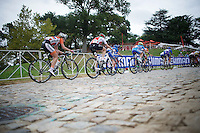 racing over the cobbles of the very steep 23rd Street (12%)<br /> <br /> Junior Women Road Race<br /> UCI Road World Championships Richmond 2015 / USA