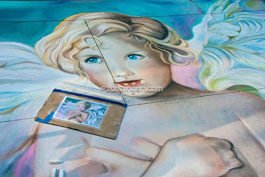 Pasadena, CA, Old Town, Colorado, Boulevard, Sidewalk Painting, street painting art form