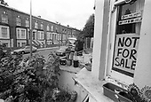 Not For Sale sign in window of a house in Walterton Road, 1985.  A resident-led campaign to take control of Walterton and Elgin estates and prevent their sale to private developers by Westminster City Council was eventually successful, and the homes were handed over to the residents in 1992.
