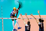 Paola Ogechi Egonu of Italy (L) attacks during the FIVB Volleyball Nations League Hong Kong match between China and Italy on May 31, 2018 in Hong Kong, Hong Kong. Photo by Marcio Rodrigo Machado / Power Sport Images