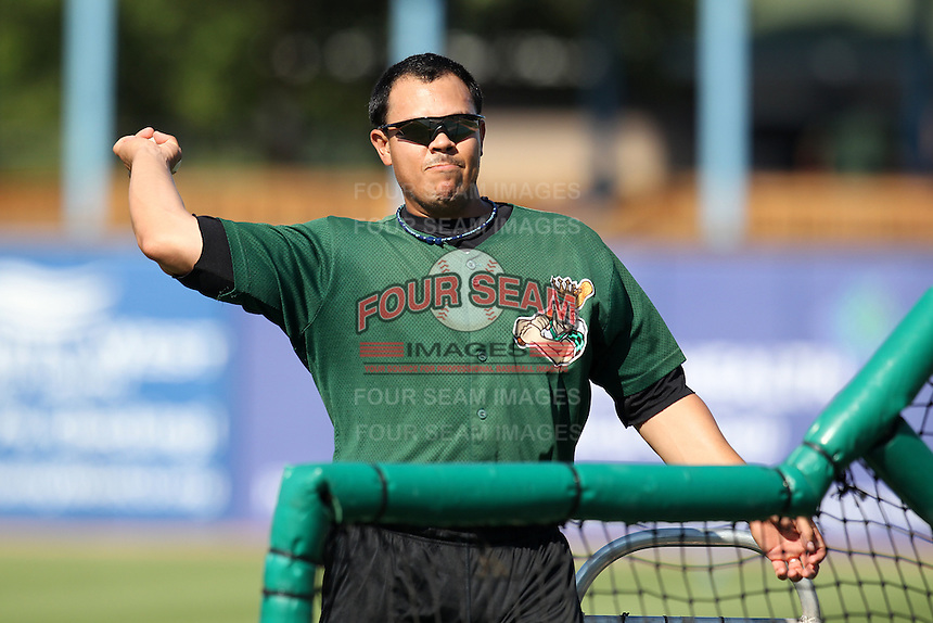 Clinton LumberKings Eddie Menchaca #14 during practice before a game against the West Michigan Whitecaps at Fifth Third Ballpark on July 23, 2011 in Comstock Park, Michigan.  West Michigan defeated Clinton 2-1.  (Mike Janes/Four Seam Images)