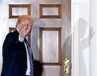 United States President-elect Donald Trump returns to the clubhouse of Trump International Golf Club, November 19, 2016 in Bedminster Township, New Jersey.<br /> Credit: Aude Guerrucci / Pool via CNP /MediaPunch