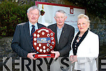 Michael Kerins (left) receiving the 'Hall of Fame Plaque' from Robert Groves (chairman of the Kingdom County fair) and Mary Barry (secretary) at the launch of this year's fair in the Meadowlands hotel, Tralee on Wednesday.