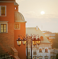 Architecture of Warsaw at sunset, Poland