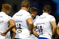 Rhys Priestland of Bath Rugby speaks to his team-mates. Pre-season friendly match, between Edinburgh Rugby and Bath Rugby on August 17, 2018 at Meggetland Sports Complex in Edinburgh, Scotland. Photo by: Patrick Khachfe / Onside Images