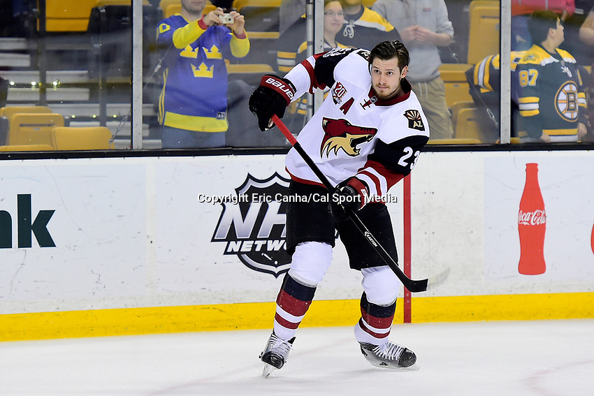 Tuesday, February 28, 2017: Arizona Coyotes defenseman Oliver Ekman-Larsson (23) warms up prior to the National Hockey League game between the Arizona Coyotes and the Boston Bruins held at TD Garden, in Boston, Mass. Boston defeats Arizona 4-1. Eric Canha/CSM