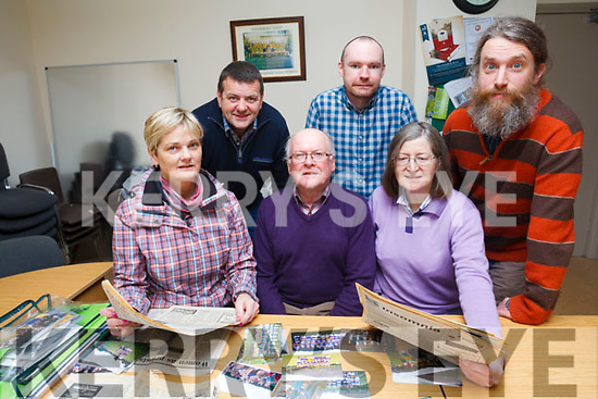 A call has been made for old photographs, stories and historic material for a history book on the parish of Glenflesk. <br /> front left to right Mary O'Brien, Pat Favier and Aine Ni Shuilleabhain. <br /> Back left to right Derry Healy, Michael Healy and Matt Hodd.