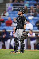 Akron RubberDucks catcher Eric Haase (13) during a game against the Binghamton Rumble Ponies on May 12, 2017 at NYSEG Stadium in Binghamton, New York.  Akron defeated Binghamton 5-1.  (Mike Janes/Four Seam Images)
