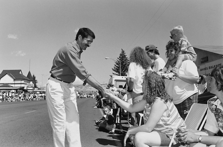 Lieutenant Governor Denny Rehberg campaigns at the Freedom Festival Parade in Butte, Montana on July 4, 1996. (Photo by Patrick Krohn/CQ Roll Call via Getty Images)