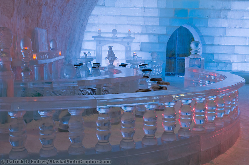 Aurora Ice Hotel, Chena Hot Springs, Alaska. A 30 ft. high gothic style ice structure built from ice and snow by World Ice Sculpting champion Steve Brice. The hotel includes an ice bar, lobby, stage, ice chandeliers, and six hotel rooms kept at 28 degrees Fahrenheit that can be rented for a unique overnight stay under the northern lights.