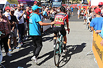 Race leader Red Jersey Primoz Roglic (SLO) Team Jumbo-Visma arrives at sign on before Stage 11 of La Vuelta 2019 running 180km from Saint Palais, France to Urdax-Dantxarinea, Spain. 4th September 2019.<br /> Picture: Luis Angel Gomez/Photogomezsport | Cyclefile<br /> <br /> All photos usage must carry mandatory copyright credit (© Cyclefile | Luis Angel Gomez/Photogomezsport)