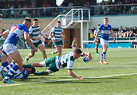 David Johnston of Ealing Trailfinders scores a try during the 2019/20 Pre Season Friendly match between Ealing Trailfinders and Bishop's Stortford at Castle Bar , West Ealing , England  on 24 August 2019. Photo by Alan  Stanford / PRiME Media images