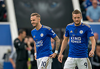 James Maddison & Jamie Vardy of Leicester City during the Premier League match between Leicester City and Wolverhampton Wanderers at the King Power Stadium, Leicester, England on 10 August 2019. Photo by Andy Rowland.