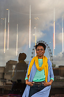 """Natasha Gordon, Playwright, photographed at the National Theatre in London. Natasha Gordon's first play """" Nine Night"""" is being staged at the national Theatre. Natasha is a London born actress and writer of Jamaican descent.  Her stage credits include; RED VELVET at the Tricycle Theatre, THE LOW ROAD and CLUBLAND at the Royal Court Theatre, MULES at the Young Vic and AS YOU LIKE IT at the RSC.  Film and TV includes; DOUGH, LINE OF DUTY, CLASS, and DANNY AND THE HUMAN ZOO."""