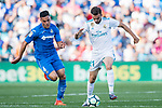 Borja Mayoral Moya of Real Madrid (R) fights for the ball with Bruno Gonzalez Cabrera of Getafe CF (L) during the La Liga 2017-18 match between Getafe CF and Real Madrid at Coliseum Alfonso Perez on 14 October 2017 in Getafe, Spain. Photo by Diego Gonzalez / Power Sport Images