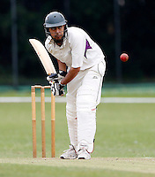 Saiam Shukat bats for Brondesbury during the Middlesex Cricket League Division Two game between Brondesbury and Wembley at Harman Drive, London on Sat Aug 1, 2015