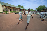 Girls gather for morning assembly at the Loreto Girls Secondary School in Rumbek, South Sudan. The school, run by the Institute for the Blessed Virgin Mary--the Loreto Sisters--of Ireland, educates young women from throughout the war-torn country.