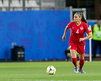 GRENOBLE, FRANCE - JUNE 15: Shelina Zadorsky #4 of the Canadian National Team looks to pass during a game between New Zealand and Canada at Stade des Alpes on June 15, 2019 in Grenoble, France.