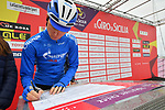 Gazprom-Rusvelo at sign on before the start of Stage 2 of Il Giro di Sicilia running 236km from Capo d'Orlando to Palermo, Italy. 4th April 2019.<br /> Picture: LaPresse/Massimo Paolone | Cyclefile<br /> <br /> <br /> All photos usage must carry mandatory copyright credit (© Cyclefile | LaPresse/Massimo Paolone)