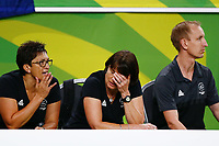 Head Coach Janine Southby of New Zealand reacts after losing to England. Gold Coast 2018 Commonwealth Games, Netball, New Zealand Silver Ferns v England, Gold Coast Convention and Exhibition Centre, Gold Coast, Australia. 11 April 2018 © Copyright Photo: Anthony Au-Yeung / www.photosport.nz /SWpix.com