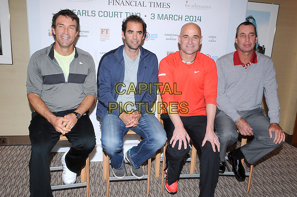 LONDON, ENGLAND - MARCH 3: Pat Cash, Pete Sampras, Andre Agassi and Ivan Lendl attend the World Tennis Day Showdown - press conference at The Athenaeum Hotel on March 3, 2014 in London, England<br /> <br /> CAP/BEL<br /> &copy;Tom Belcher/Capital Pictures