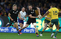 Dane Coles of the All Blacks looks for a pass during the Rugby Championship match between Australia and New Zealand at Optus Stadium in Perth, Australia on August 10, 2019 . Photo: Gary Day / Frozen In Motion